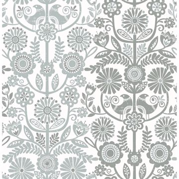 Picture of Lovebirds Slate Folk Stripe Wallpaper