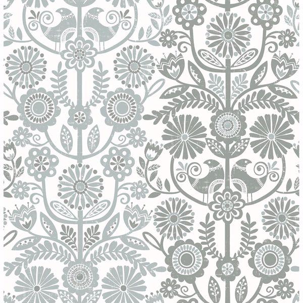 Picture of Lovebirds Slate Folk Stripe Wallpaper