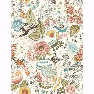 Picture of Whimsy Pink Fauna Wallpaper