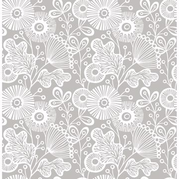 Picture of Ana Grey Floral Wallpaper