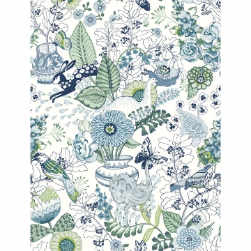 Picture of Whimsy Blue Fauna Wallpaper