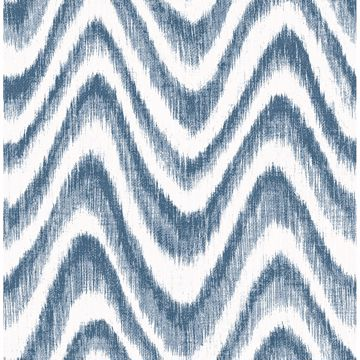 Picture of Bargello Blue Faux Grasscloth Wave Wallpaper