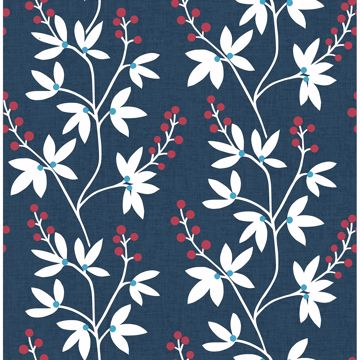 Picture of Linnea Elsa Navy Botanical Trail Wallpaper