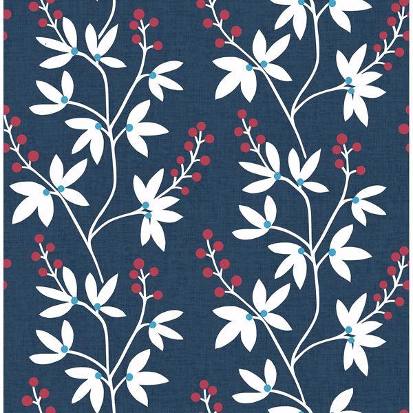 Picture of Linnea Elsa Navy Botanical Trail Wallpaper