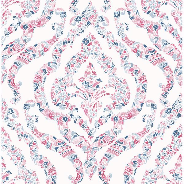 Picture of Featherton Coral Floral Damask Wallpaper