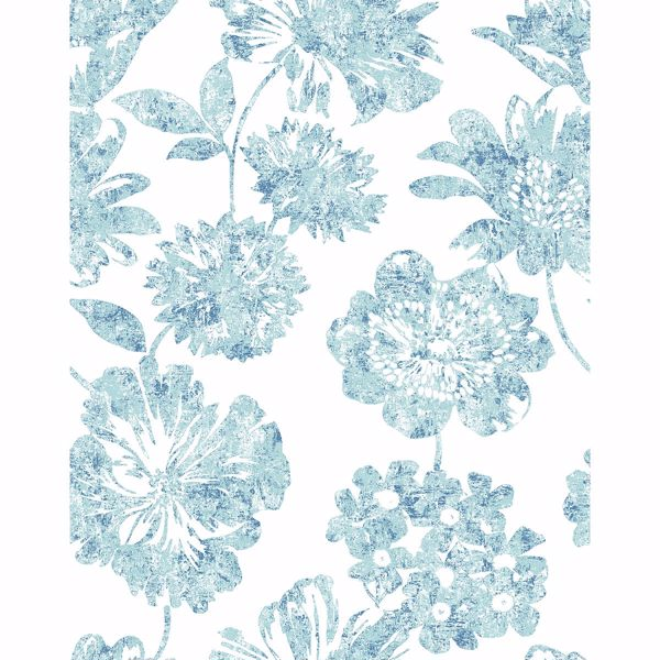 Picture of Folia Blue Floral Wallpaper