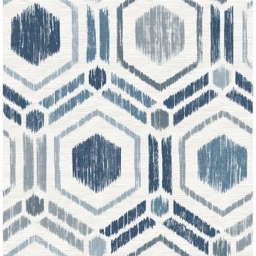 Picture of Borneo Blue Geometric Grasscloth Wallpaper