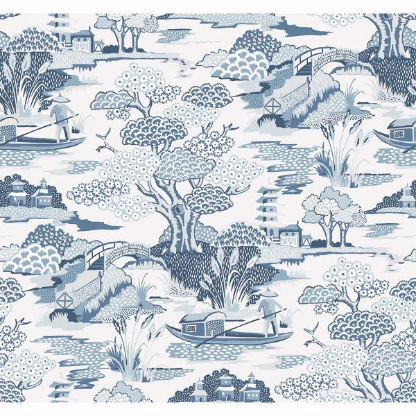Picture of Joy De Vie Blue Toile Wallpaper