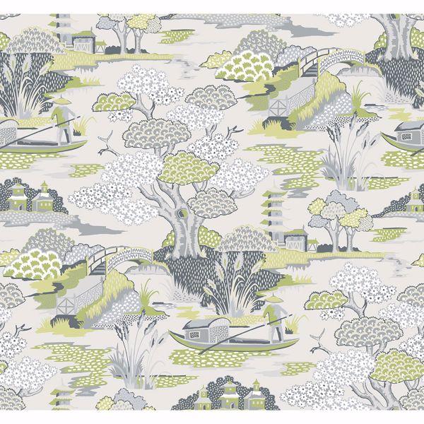 Picture of Joy De Vie Green Toile Wallpaper