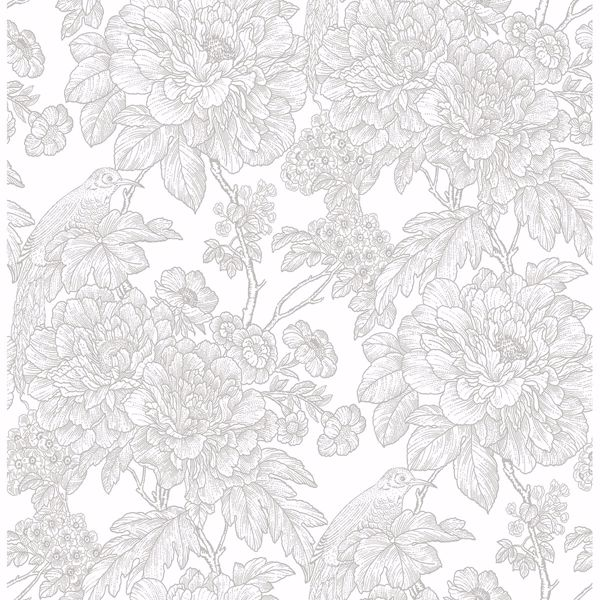 Picture of Birds of Paradise Breeze Grey Floral Wallpaper