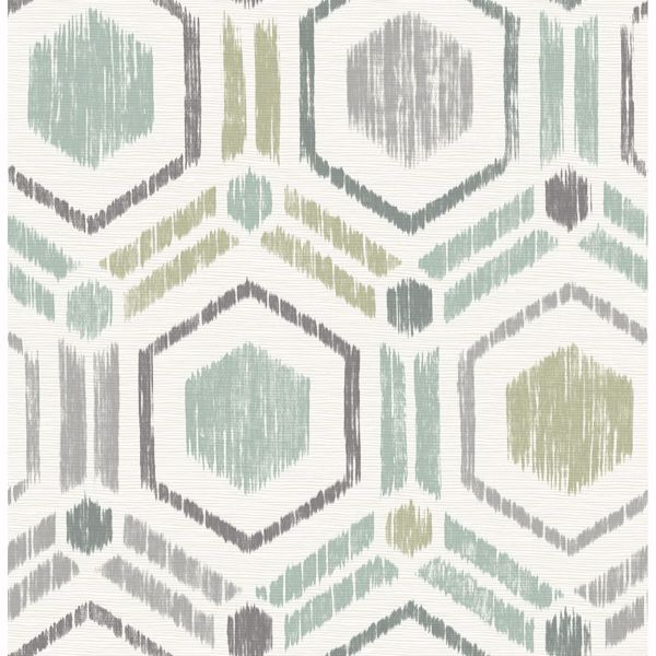 Picture of Borneo Light Green Geometric Grasscloth Wallpaper