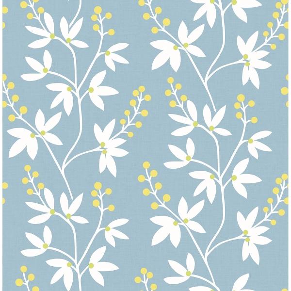 Picture of Linnea Elsa Light Blue Botanical Trail Wallpaper