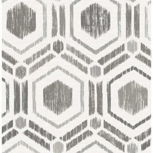 Picture of Borneo Taupe Geometric Grasscloth Wallpaper