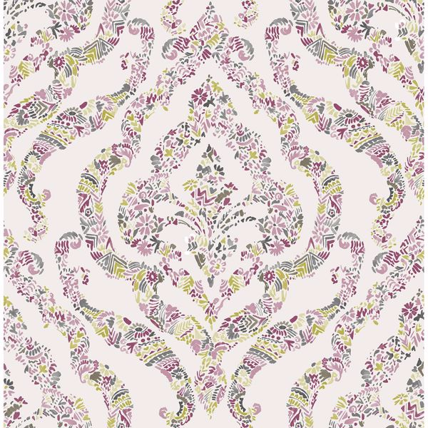 Picture of Featherton Pink Floral Damask Wallpaper