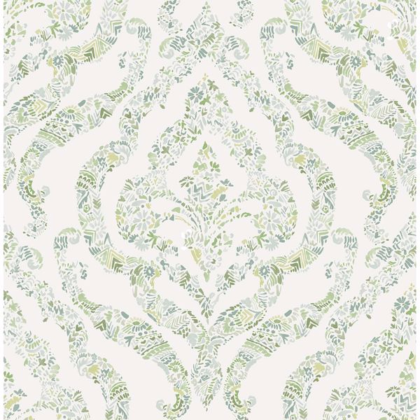 Picture of Featherton Light Green Floral Damask Wallpaper