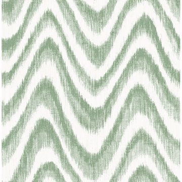 Picture of Bargello Green Faux Grasscloth Wave Wallpaper