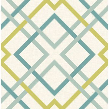 Picture of Saltire Emile Turquoise Lattice Wallpaper