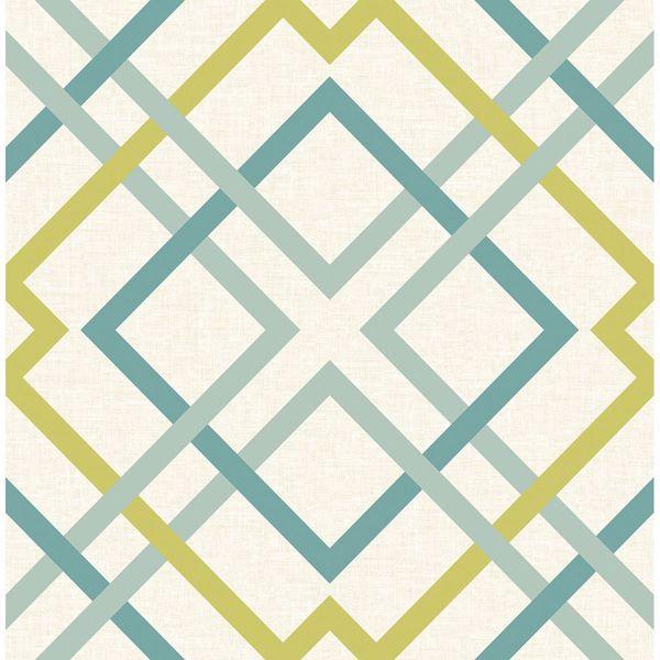 Picture of Saltire Emile Turquoise Lattice Wallpaper