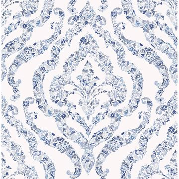 Picture of Featherton Blue Floral Damask Wallpaper