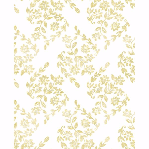 Picture of Arabesque Mustard Floral Trail Wallpaper