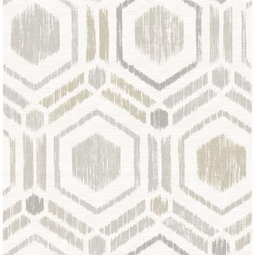 Picture of Borneo Light Grey Geometric Grasscloth Wallpaper