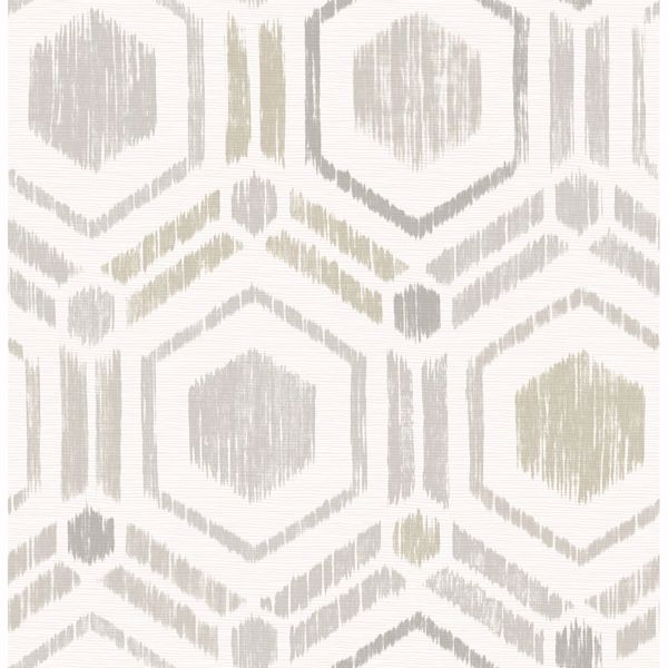 Picture of Borneo Light Grey Geometric Grasscloth Wallpaper