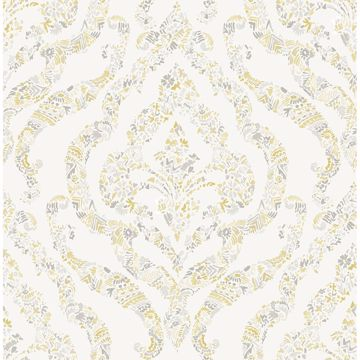 Picture of Featherton Mustard Floral Damask Wallpaper