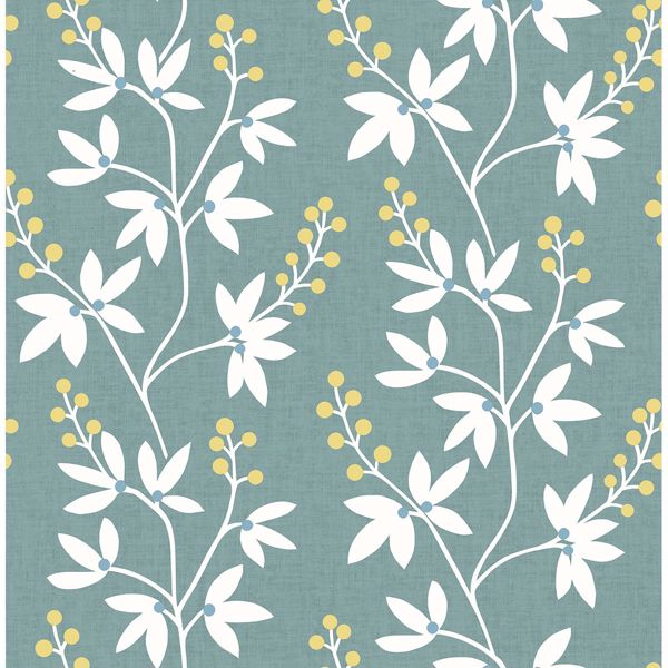 Picture of Linnea Elsa Teal Botanical Trail Wallpaper