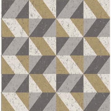 Picture of Cerium Metallic Concrete Geometric Wallpaper