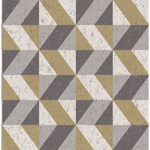 Picture of Cerium Metallic Concrete Geometric Wallpaper