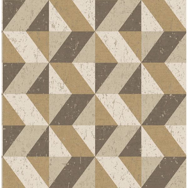 Picture of Cerium Light Brown Concrete Geometric Wallpaper