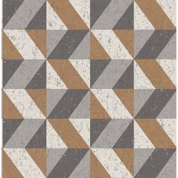 Picture of Cerium Copper Concrete Geometric Wallpaper
