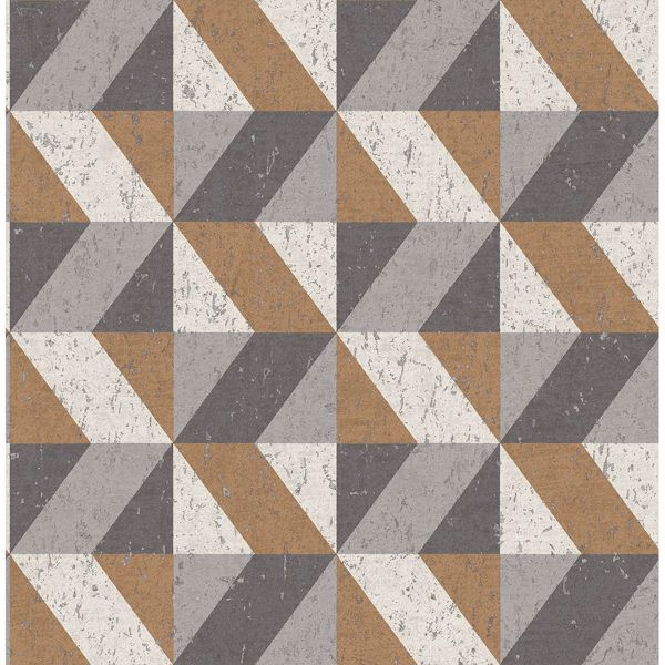 Picture of Cerium Copper Concrete Geometric Wallpaper