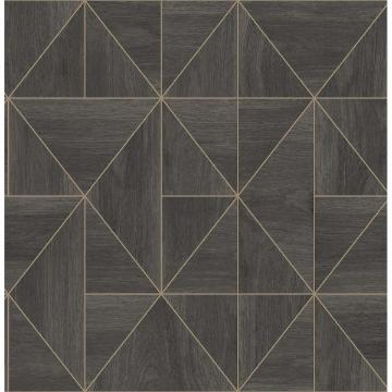 Picture of Cheverny Dark Brown Geometric Wood Wallpaper
