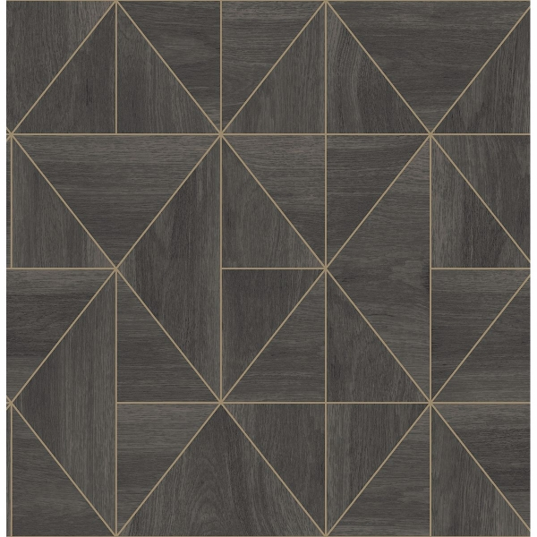 Picture of Cheverny Dark Brown Geometric Wood Wallpaper