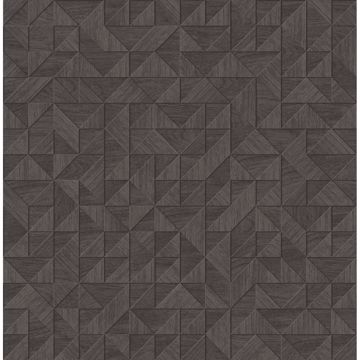 Picture of Gallerie Dark Brown Geometric Wood Wallpaper