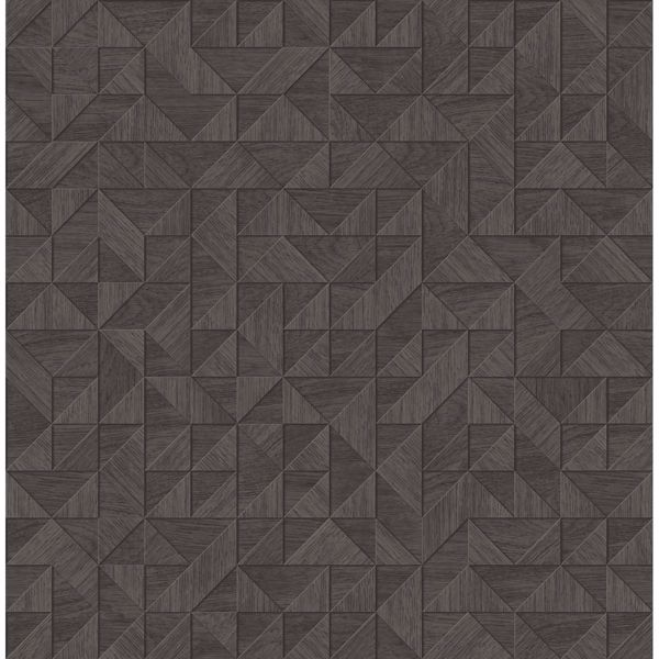 Picture of Gallerie Dark Brown Geometric Wood Wallpaper