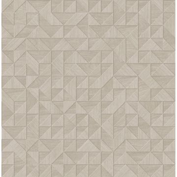 Picture of Gallerie Cream Geometric Wood Wallpaper