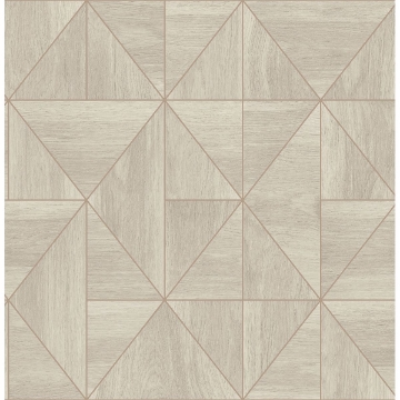 Picture of Cheverny Cream Geometric Wood Wallpaper