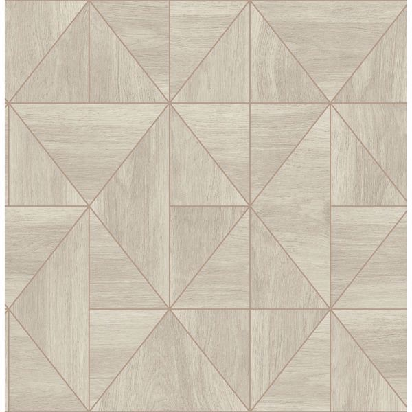 Picture of Cheverny Cream Geometric Wood Wallpaper