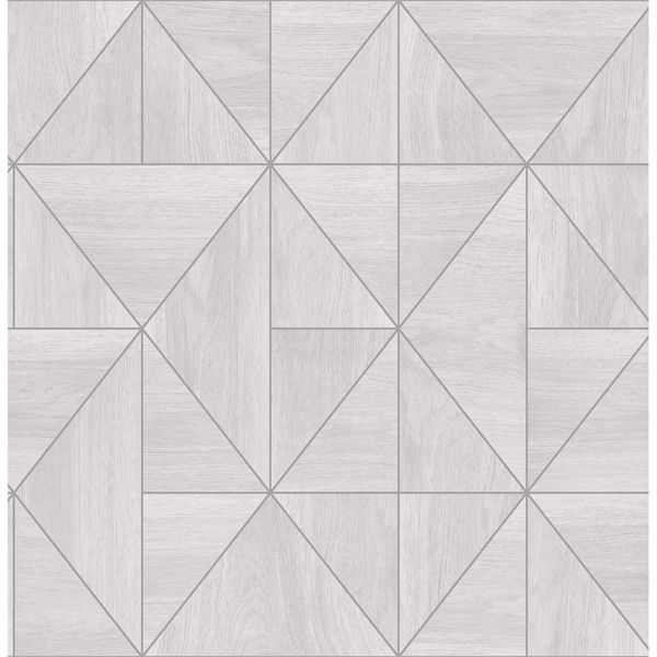Picture of Cheverny Light Grey Geometric Wood Wallpaper