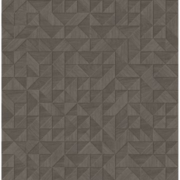 Picture of Gallerie Taupe Geometric Wood Wallpaper