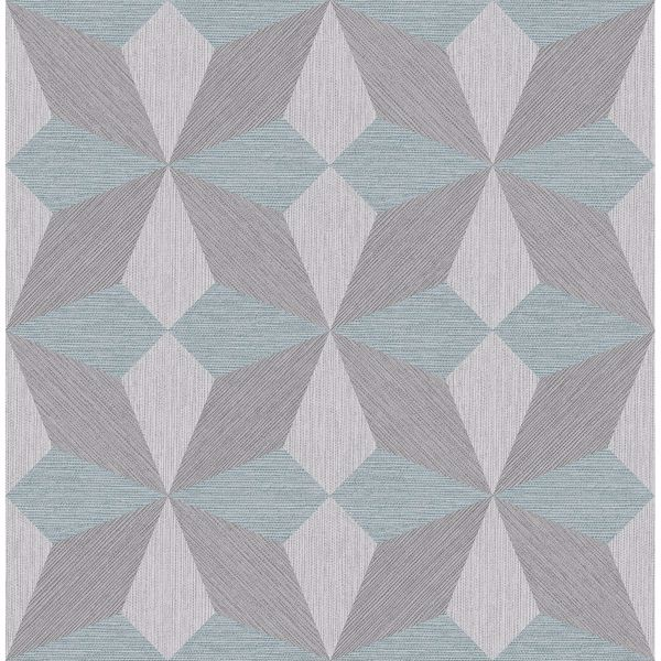 Picture of Valiant Aqua Faux Grasscloth Geometric Wallpaper
