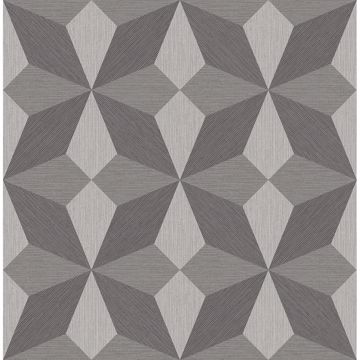 Picture of Valiant Grey Faux Grasscloth Geometric Wallpaper