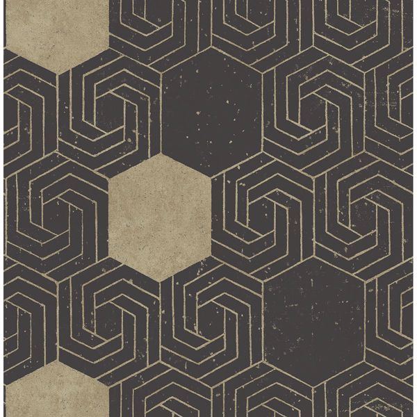 Picture of Momentum Dark Brown Geometric Wallpaper