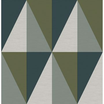 Picture of Aspect Green Geometric Faux Grasscloth Wallpaper