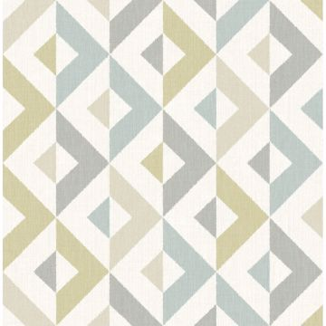 Picture of Seesaw Grey Geometric Faux Linen Wallpaper