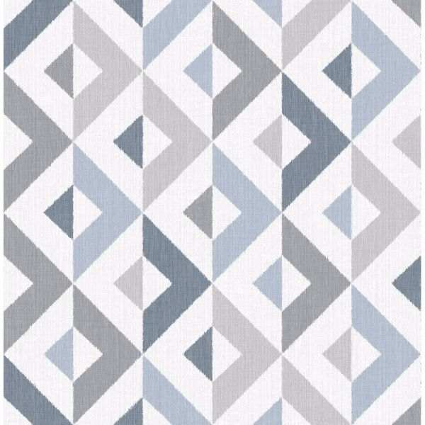Picture of Seesaw Slate Geometric Faux Linen Wallpaper