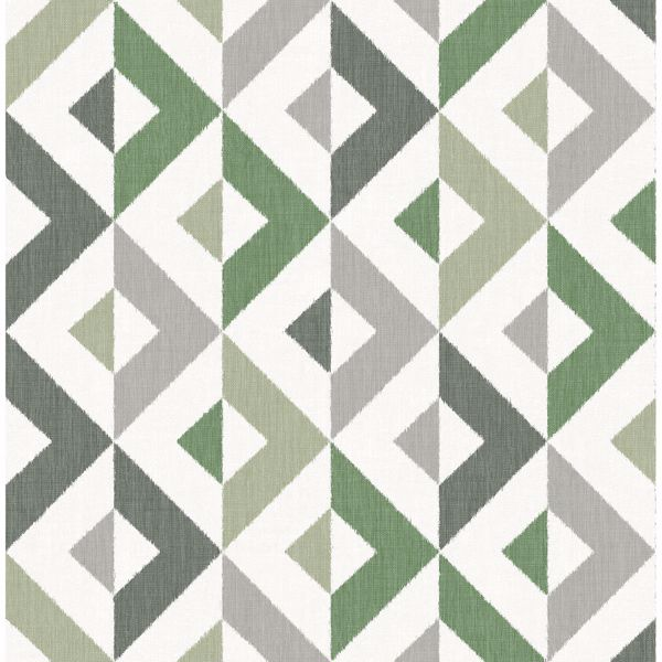Picture of Seesaw Green Geometric Faux Linen Wallpaper