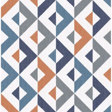 Picture of Seesaw Multicolor Geometric Faux Linen Wallpaper